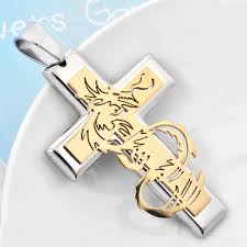 dragon cross necklace images New design statement 316l stainless steel gold silver dragon cross jpg