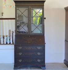 Ethan Allen Corner Desk by Painted Glass Front Chippendale Chinoiserie Secretary Ethan