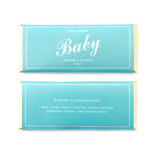 baby shower personalized candy bar wrapper in tiffany blue and
