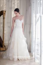 elegant strapless sweetheart a line tulle lace wedding dress