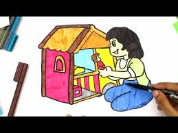 house coloring learn draw color dollhouse learn