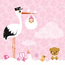 stork for girls newborn invitation baby shower pink cute stock