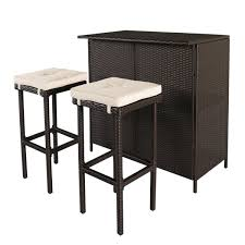 White Wicker Desk by Amazon Com Cloud Mountain 3 Pc Wicker Bar Set Patio Outdoor