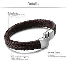 bracelet clasps magnetic images Jstyle braided leather bracelets for men bangle jpg
