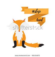 fox ribbon stop vector illustration fox rabbit stock vector 681454444