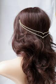 hair jewellery chain hair jewellery wedding accessory gold
