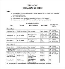 rehearsal report template rehearsal schedule templates 13 free word excel pdf format