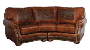 small distressed leather curved sectional sofa with rounded arms