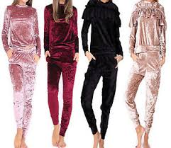 womens crushed velvet lounge suit sweatshirt pant womens lounge
