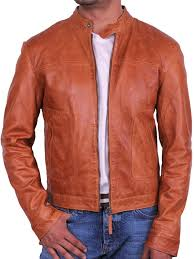mens leather biker jacket brandslock mens tan real leather biker jacket coat designer at