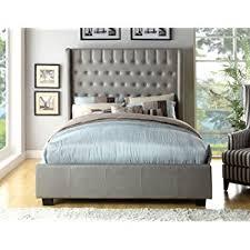 High Platform Bed Amazon Com Baxton Studio Hirst Platform Bed King Gray Kitchen