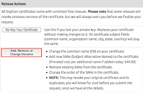 digicert account manager adding names to a san certificate