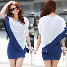 new fashion blue white patchwork women irregular sleeve chiffon