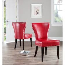 Red Leather Dining Chair Safavieh En Vogue Dining Matty Red Leather Nailhead Dining Chairs