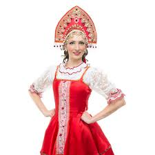 White Russian Halloween Costume Smile Young Woman Hands Hips Portrait Russian Traditional