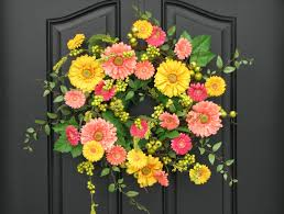 spring wreaths for front door yellow wreath front door handballtunisie org