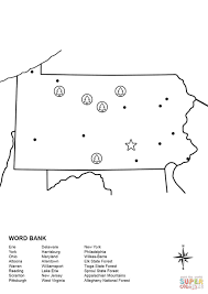 State Of Pennsylvania Map by Pennsylvania Map Worksheet Coloring Page Free Printable Coloring