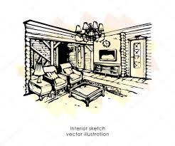 hand drawn interior sketch home design living room provence