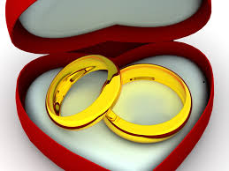 box as heart with wedding rings backgrounds for presentation ppt