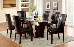 cherry kitchen table set manhattan dark cherry finish oval glass 7 piece dining table set
