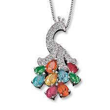 kay jewelers charmed memories kay topaz peacock necklace pear shaped sterling silver
