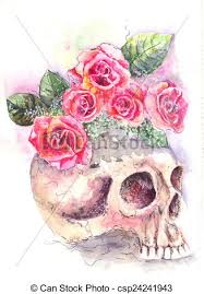 skull with roses water color from a skull roses grow drawing