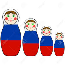 Russian Flag Colors Cartoon Illustration Showing Russian Dolls In Different Sizes