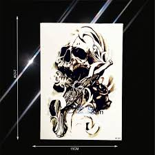 waterproof spray evil skull gun temporary tattoo sticker fake rose