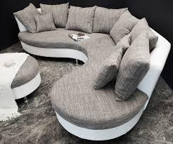 rund sofa danylo weiss hellgrau 305x220 cm ottomane rechts rundsofa ebay