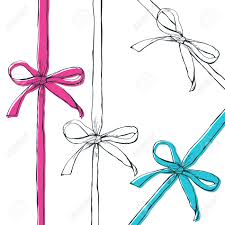 bows and ribbons set of vector outline bow ribbons isolated on white