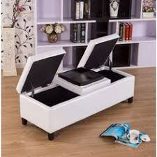 Noble House Chelsea Storage Ottoman 5 Pc Cream Leather Like Vinyl Round Storage Ottoman With 4 Fan
