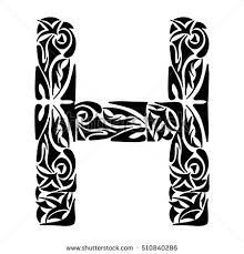 polynesian initials tribal capital letter stock vector