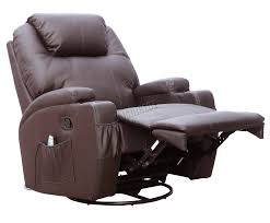 Rocking Swivel Recliner Foxhunter Bonded Leather Massage Recliner Chair Cinema Sofa