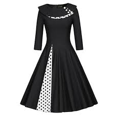 MisShow 2018 Autumn Women Christmas Dresses Dot 50s Vintage Dresses