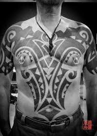 chest tribal belly maori tattoo by ink tank