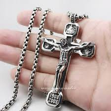 necklace crucifix cross images Huge heavy 316l stainless steel jesus crucifix cross pendant mens jpg