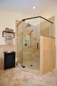 the frameless neo angle shower enclosure is highlighted in rubbed