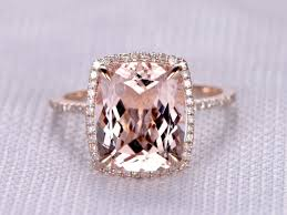 5 carat engagement ring 4 to 5 carat cushion morganite ring 14k gold diamond