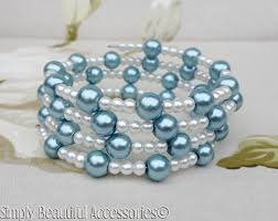 beaded bracelet glass pearl images Soft powder blue white glass pearls beaded memory wire bracelet jpg