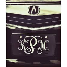 monogrammed plate black and white front license plate personalized