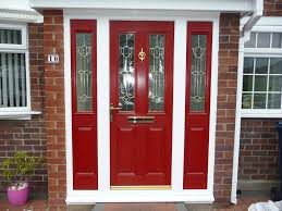 Front Doors With Glass Side Panels Red Front Doors With Glass