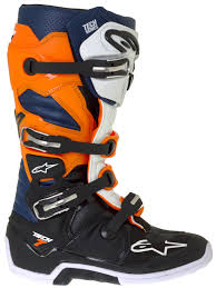 size 6 motocross boots alpinestars black orange white blue tech 7 mx boot alpinestars