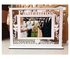 Fabuloso Quadro Porta Retratos Padrinhos Casamento (1 peça) - MDF Branco  @FC95