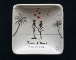 painted wedding plates personalized wedding ring plate etsy