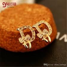 gold earrings for women 2016 aaa zircon gold stud earrings women gold plated ear jewelry