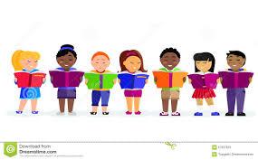 group of children reading books stock vector image 67937829