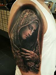 18 nice virgin mary tattoos on half sleeve