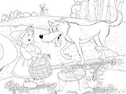 little red ridimg hood fairy tale illustration for children