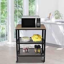 kitchen storage cupboard on wheels oshion microwave cart on wheels 3 tier rolling kitchen cart baker rack with adjustable storage shelves utility cart for living room walmart