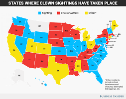Scary Maps Maps Of Clown Sightings And Arrests Business Insider